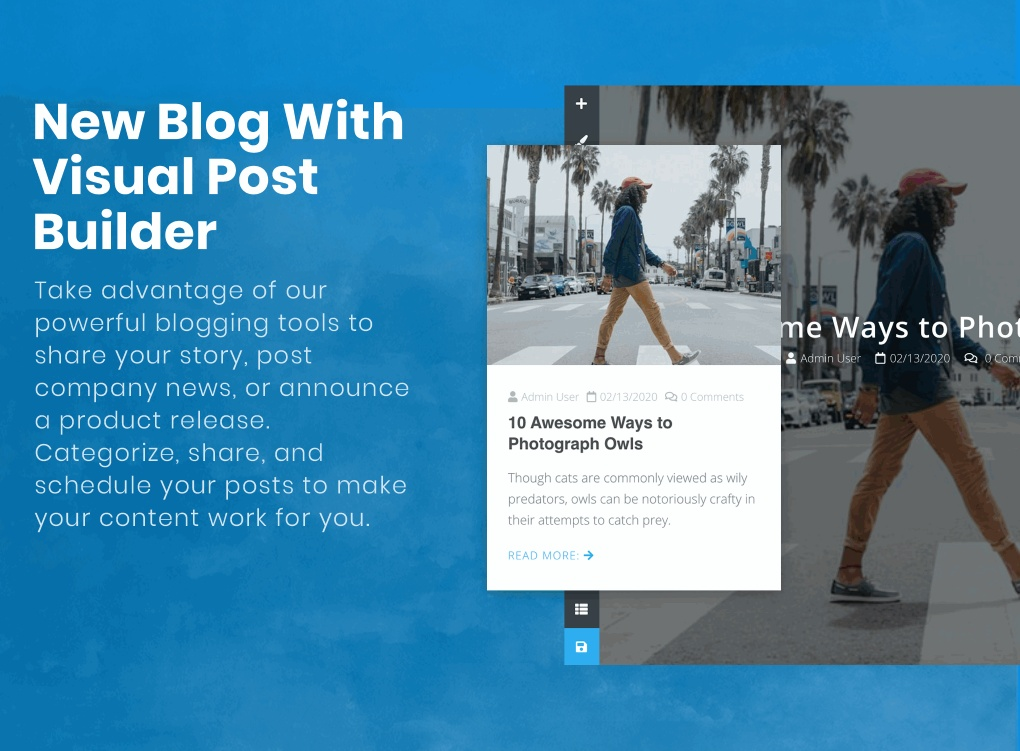 New blog with Visual Post builder.