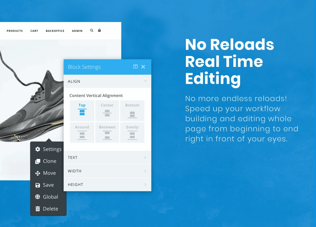 Real time editing, no page reloads!